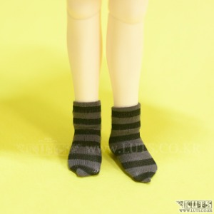 HDF Stripe Short Socks (Black/Gray)