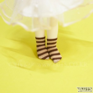 HDF Stripe Short Socks (Brown/Beige)