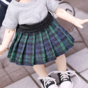 [LATI-Y] Banding Check Skirt(Green)