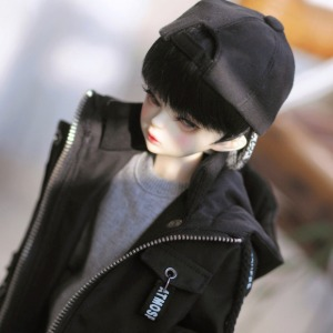 [MSD]Letterring long parka(Black)