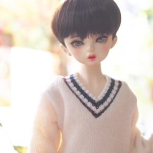 [MSD]Colored sibori V-neck knit wear(Ivory)