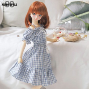 [SDG]Off-shoulder dress(Blue check)