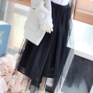 [SDG]Stiff mesh long skirt(Black)