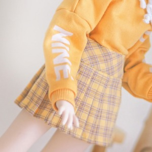 [MSD] Check pleated skirt(Yellow)