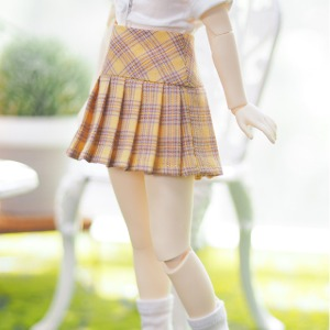 [JEUJEU30] Check pleated skirt(Yellow)