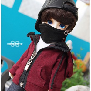 [YoSD] Mask hood zip-up(Wine red)