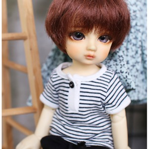 [YoSD]Open striped T-shirt(Black)