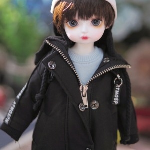 [YoSD] Letterring long parka(Black)