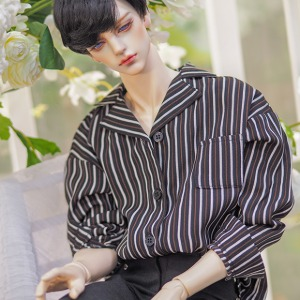 [ID75] Open collar shirt (Black stripe)