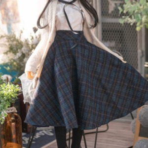 [Pre-Order] [SDG]Check long skirt(Navy)