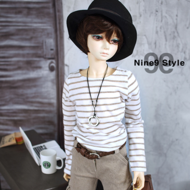 [SDB]Long sleeves striped T-shirt(Beige)