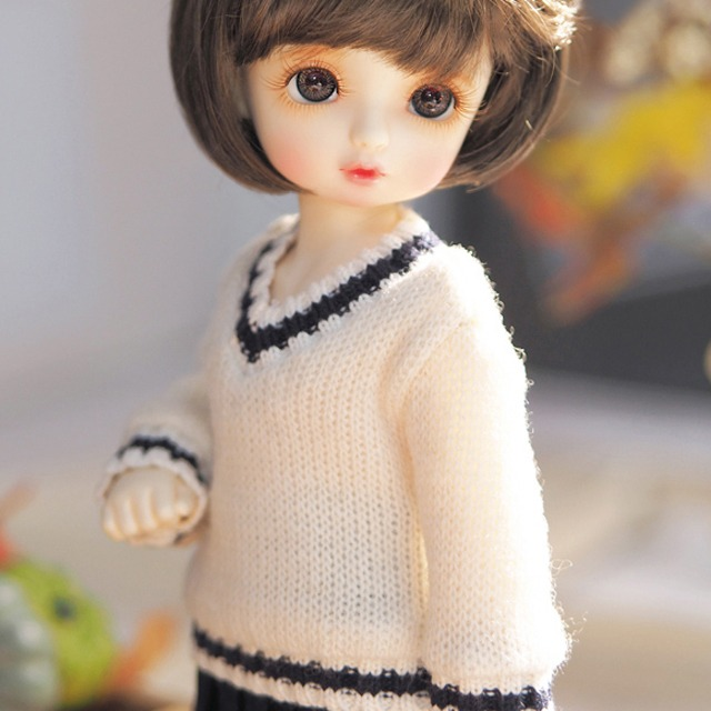 [YoSD] Colored sibori V-neck knit wear(Ivory)