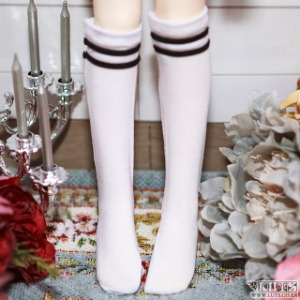 KDF Two Line Socks (White)