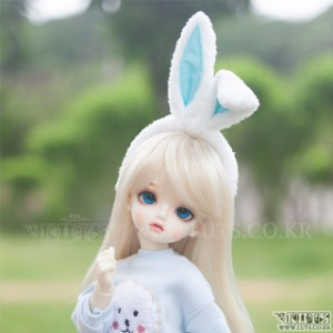 Rabbit Hair band (White/Mint) (S size)