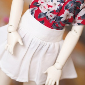 [MSDG]Flare mini skirt(White)
