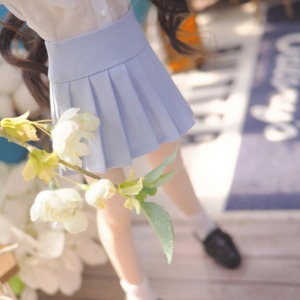 [MSD]Basic pleated skirt(Sky blue)