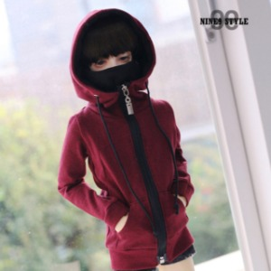[SDB]Mask Hood Zip-up(Wine)