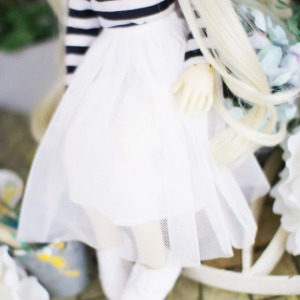 [MSD]Stiff mesh long skirt (White)