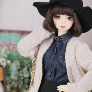 [SDG]GIRL Long knit cardigan(Khaki beige)