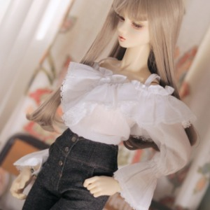 [SDG]Frill off shoulder blouse(White)
