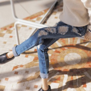 [SDB]Damage denim pants(Blue jeans)