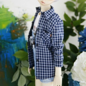 [SDB]Melange square check shirt(Navy)