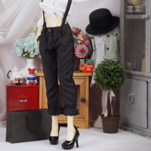 [SDG]Suspenders slacks(Stripe black)