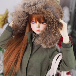 [SDG]GIRL Rabbit fur Safari jacket(Khaki)