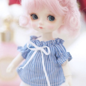 [LATI-Y]Smocking shoulder open blouse(Blue)