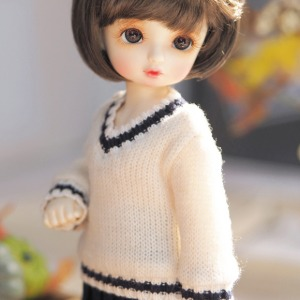 [YoSD]Colored sibori V-neck knit wear(Ivory)