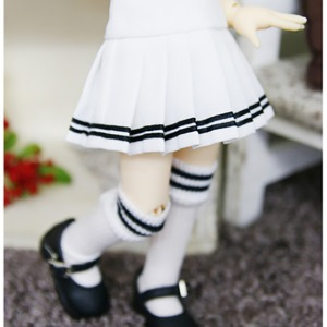 [YoSD] Two-line pleated skirt(White)
