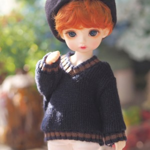 [YoSD]Colored sibori V-neck knit wear(Navy)