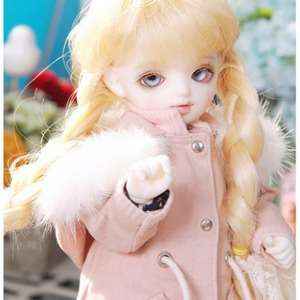 [YoSD] GIRL Rabbit fur safari jacket(Pink)