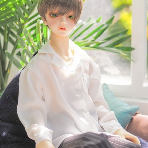 [SDB] Open collar shirt (White)
