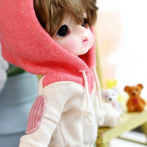 [Child16] Two-color colouring hooded T - Pink
