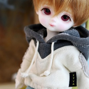 [Child16] Two-color colouring hooded T - Gray
