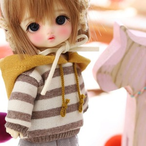 [Child16] 16CM Loose fit coloration Hooded-Brown