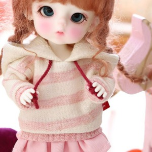 [Child16] 16CM Loose fit coloration Hooded-Pink