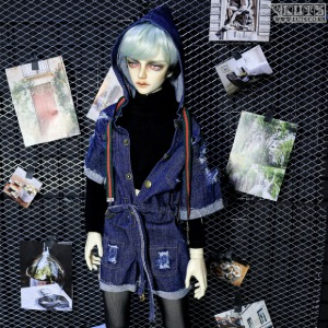 SDF65 Denim Hood Jump Suit Set (Blue)